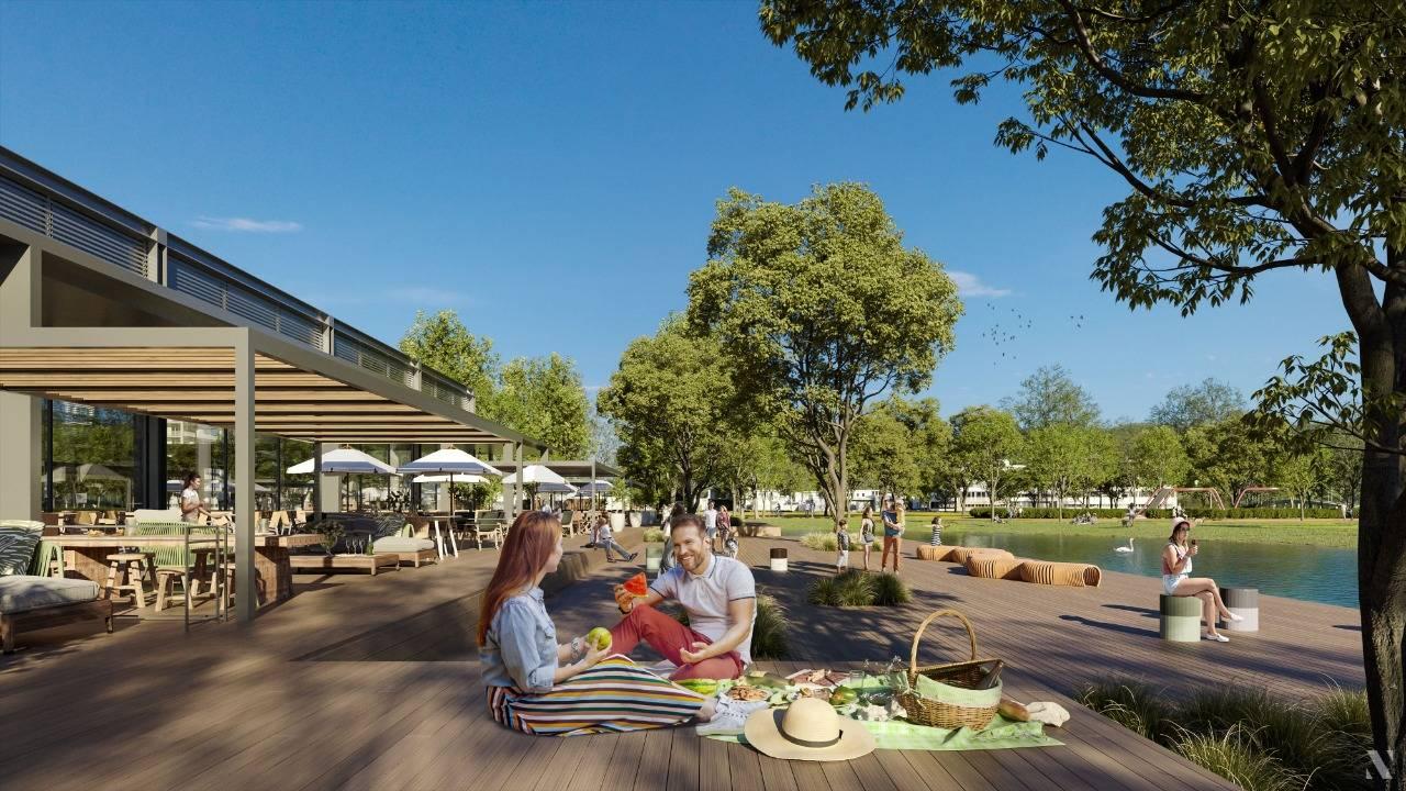 Integração com parque público é destaque no projeto do open shopping. Imagem: Vokkan/Divulgação