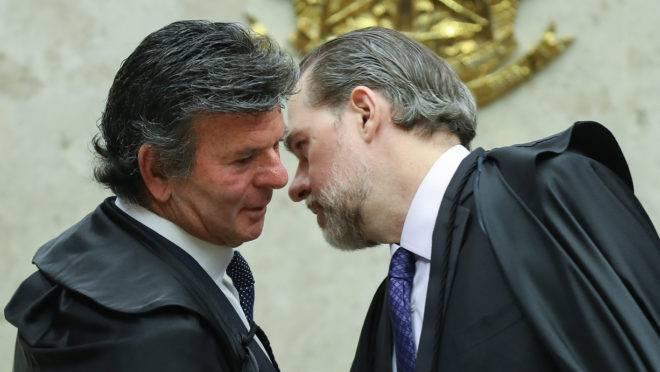 """Os ministros Luiz Fux e Dias Toffoli: próximo presidente do STF é considerado da ala """"legalista"""" da Corte e tende a se alinhar às pautas da Lava Jato."""