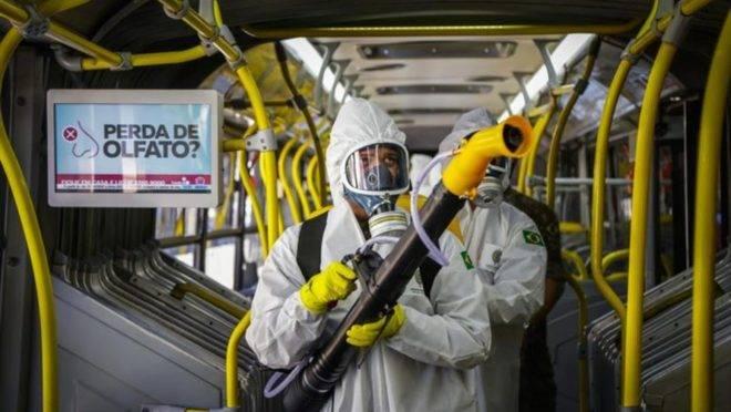 Levará em média 3 minutos para desinfecção de cada ônibus