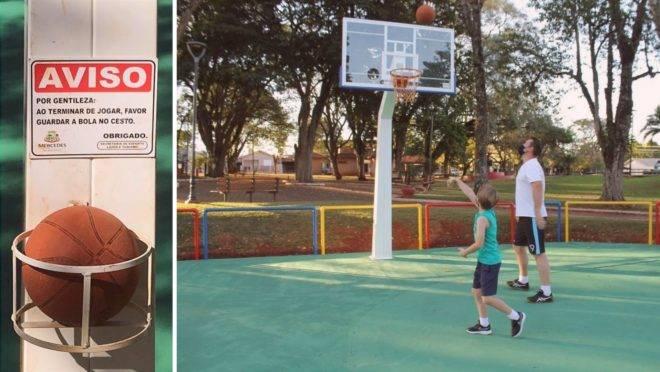 A ação foi colocada em prática na cidade de Mercedes, no Paraná, onde a bola foi deixada à disposição dos usuários da quadra