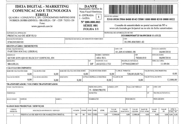 Nota fiscal apresentada pela Ideia Digital que também foi alvo de pedido de esclarecimentos do TSE.