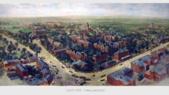 Panorama da Universidade de Harvard em 1906.