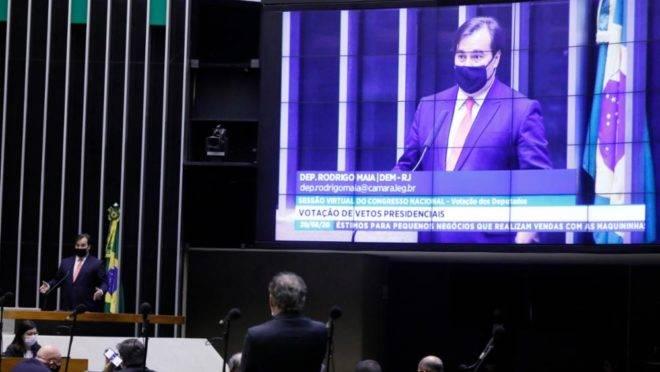 Rodrigo Maia discursa durante sessão do Congresso em 20/08/2020