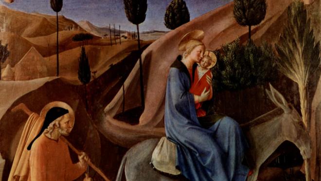 """Cena de """"A Fuga para o Egito"""", pintada por Fra Angélico."""