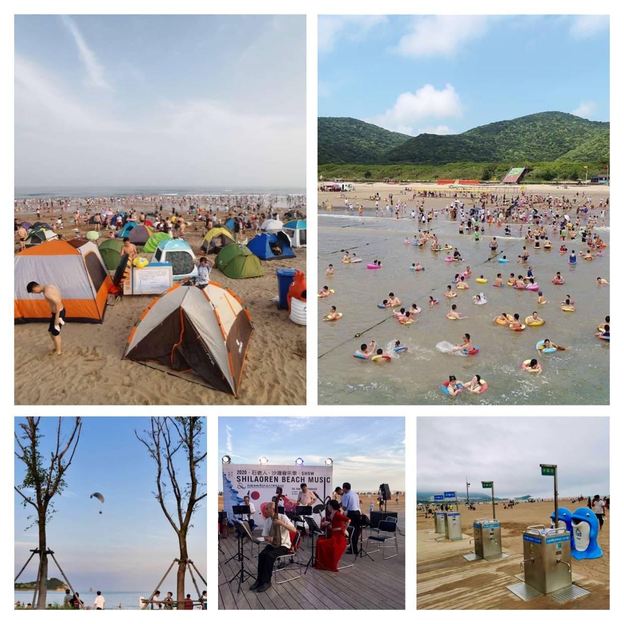 Barracas de camping, milhares de bóias coloridas em formato de donuts, picnics em família e entre amigos dão alegria, cor e identidade as praias de Qingdao.