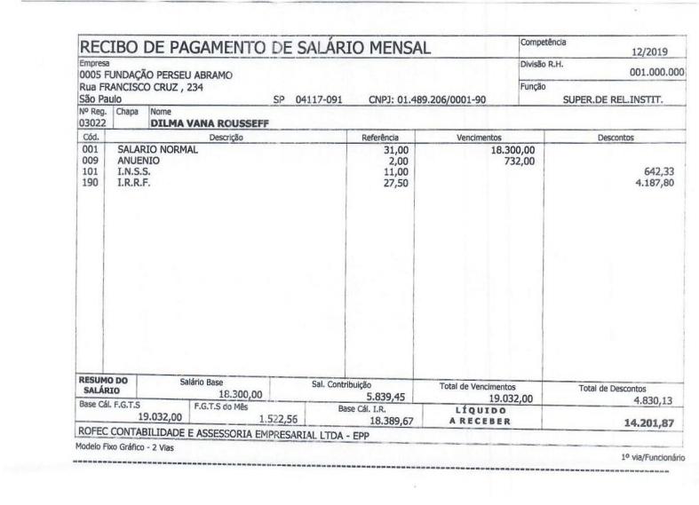 Salário de Dilma - contra-cheque da Dilma