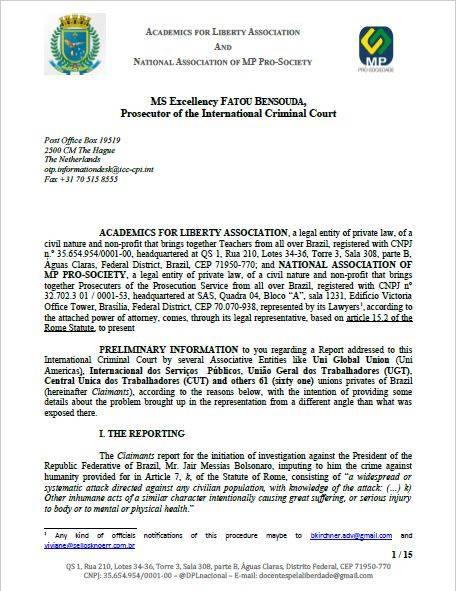 Primeira página da carta enviada por professores e promotores de Justiça ao Tribunal Penal Internacional de Haia rebatendo acusações de genocídio contra o presidente Bolsonaro