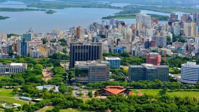 Vista aérea de Porto Alegre.