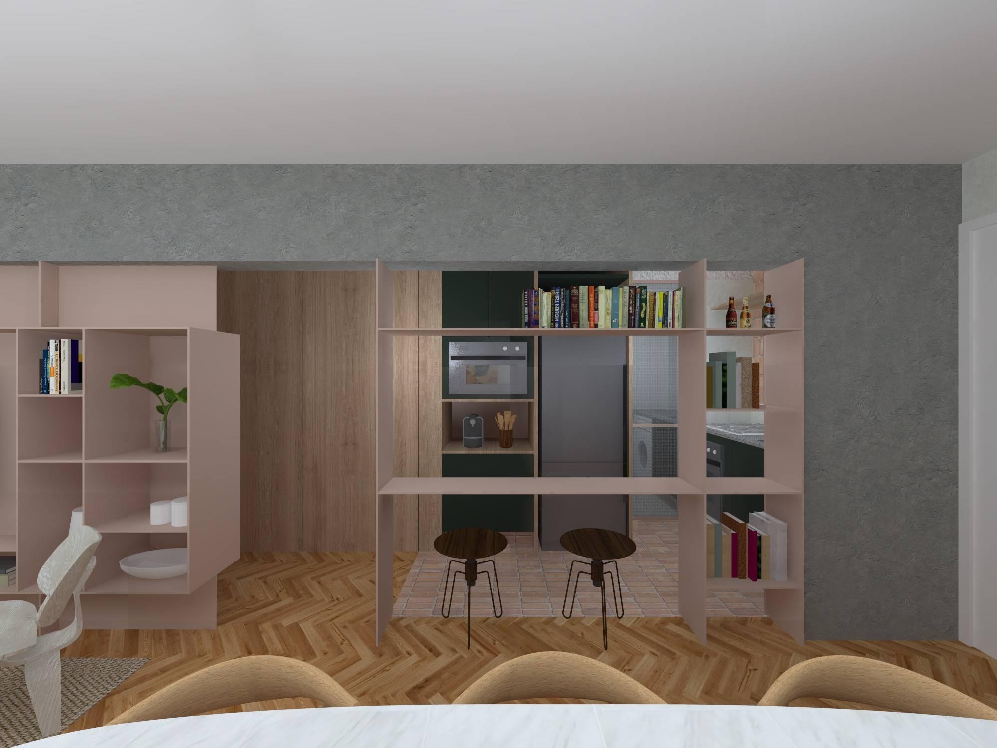 No projeto da Casa 100 Arquitetura, futura estante servirá de divisória, bancada de apoio e fechamento entre a sala e o dormitório. Imagem: Divulgação