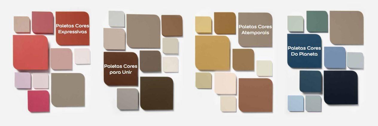 As quatro paletas que acompanham a cor do ano 2021 da Tintas Coral. Imagem: Reprodução