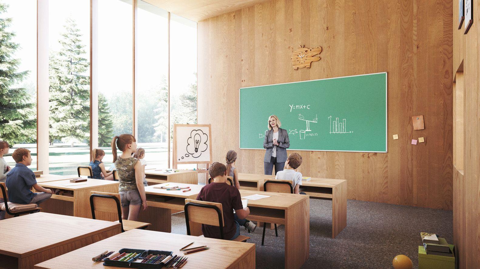 Nas salas de aula, a relação com o exterior é aumentada
