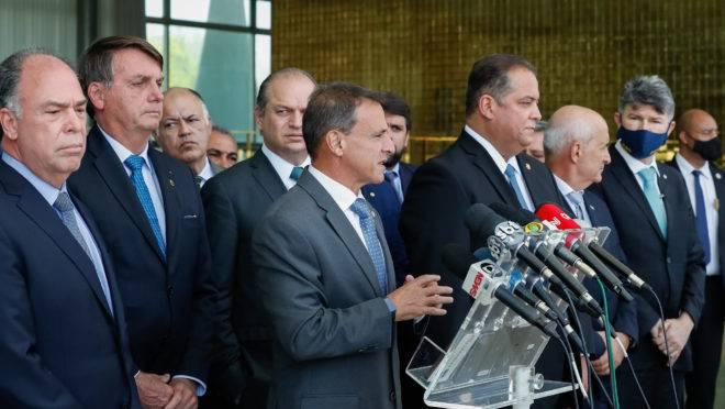 Parlamentares e Bolsonaro na apresentação do Renda Cidadã: governo recuou da apresentação da segunda fase da reforma tributária.