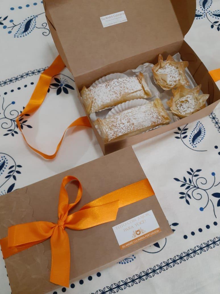 Caixas de doce da Du André em embalagens para presente.