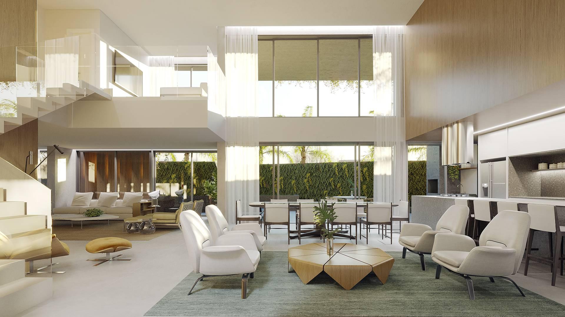 Sala integrada do apartamento garden - Átman Cabral