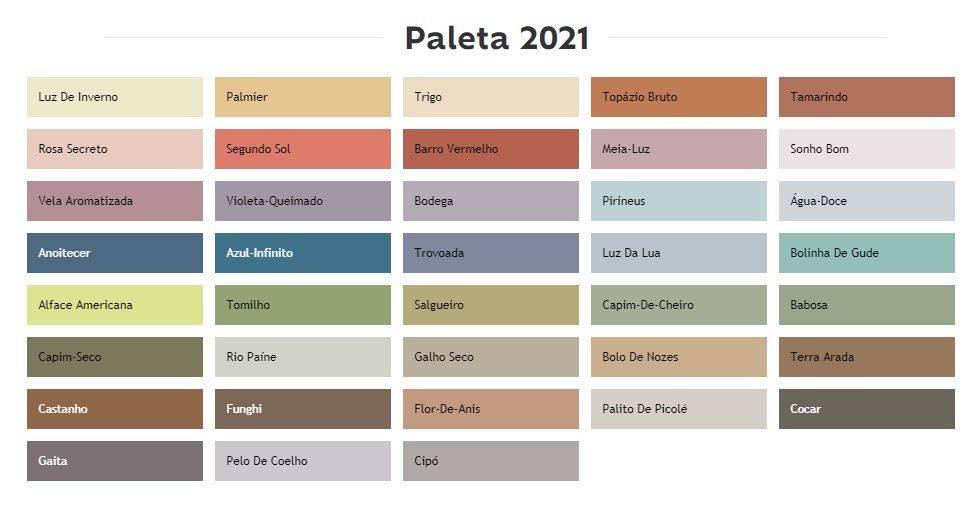 Estudo de cores para 2021 da Suvinil traz 38 tonalidades