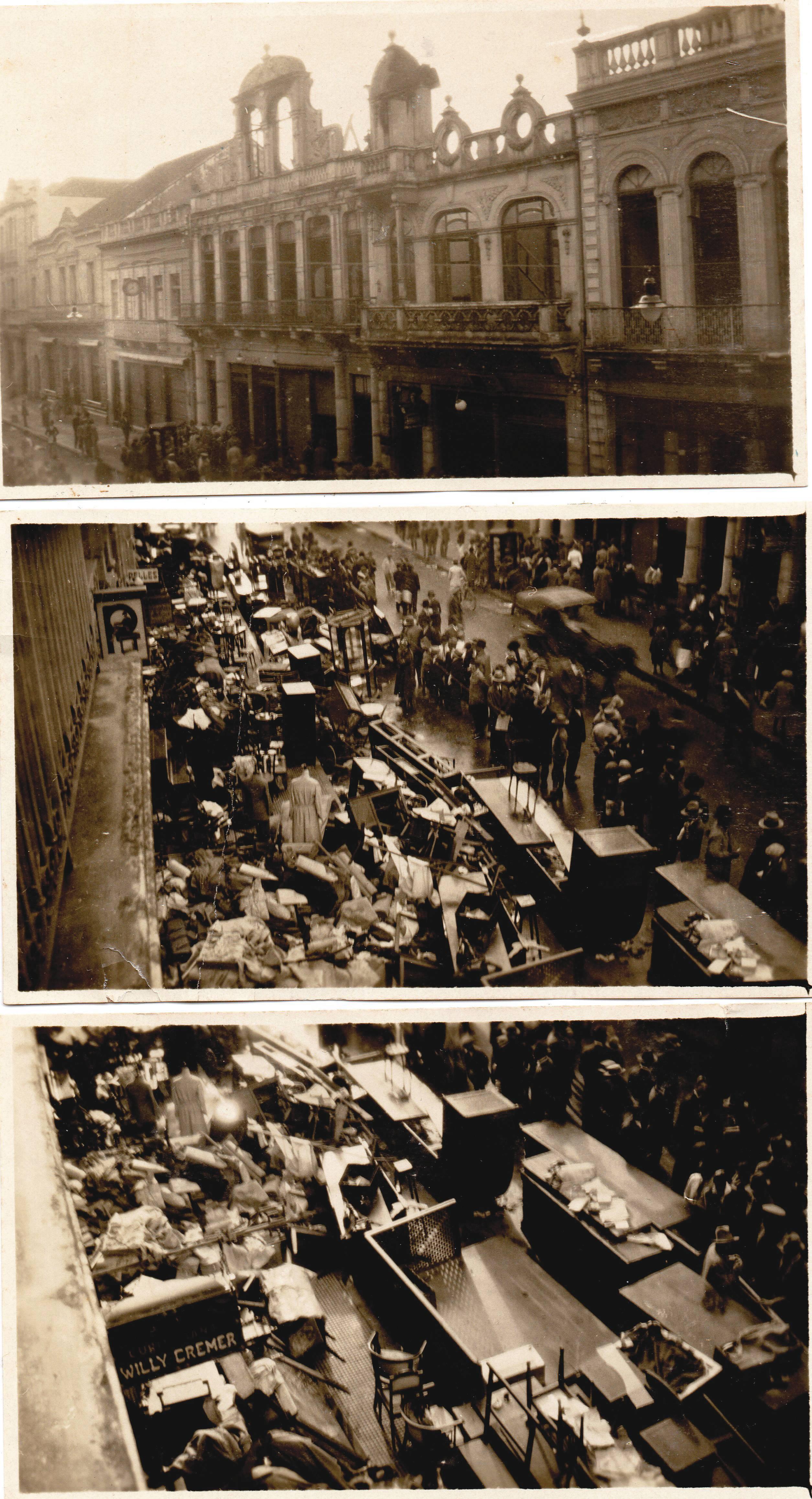 Fotos do incêndio em frente à floricultura Cremer, na Rua XV, em 1930, na Rua XV.