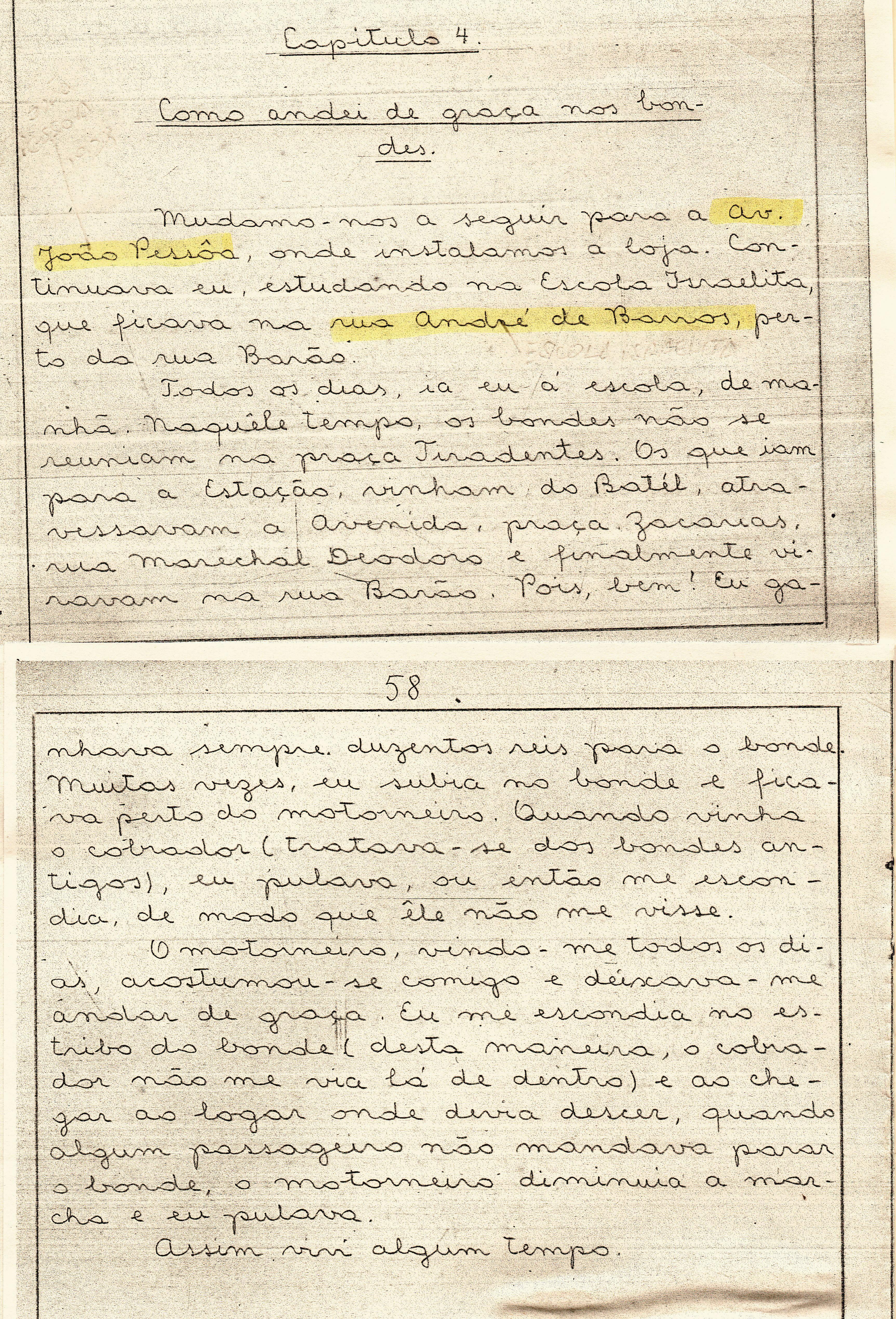 Trecho da carta em que o menino judeu polonês, que veio para o Brasil ainda criança, conta as histórias do bonde curitibano.