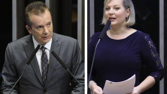 Os parlamentares Celso Russomanno (Republicanos) e Joice Hasselmann (PSL) em pronunciamentos na Câmara.