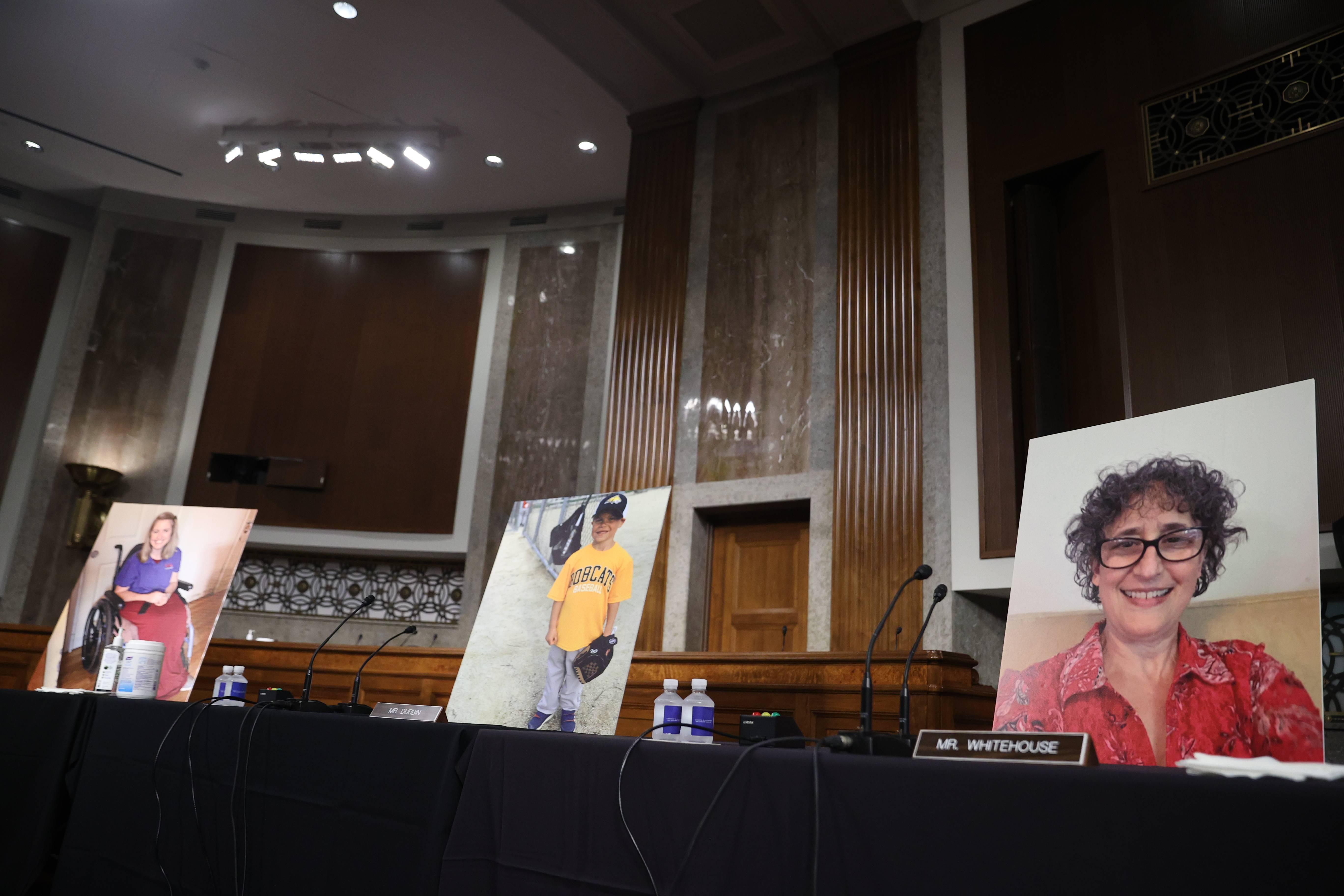 Protesto democrata: Cadeiras dos senadores democratas foram ocupadas por fotos de americanos que se beneficiaram do Obamacare   Foto: Hannah McKay/Pool/Getty Images/AFP