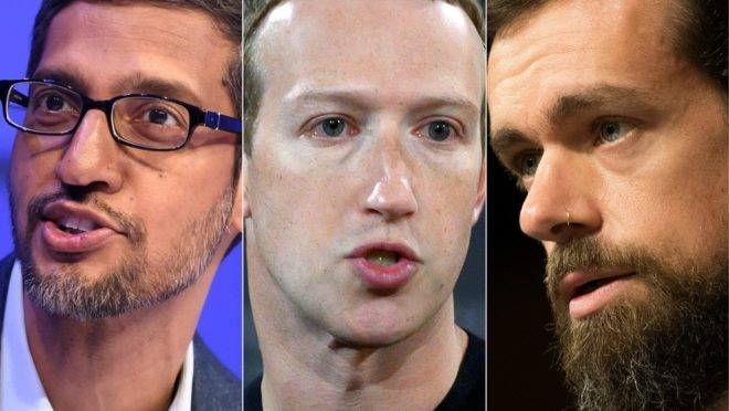 Sundar Pichai (Google), Mark Zuckerberg (Facebook) e Jack Dorsey (Twitter) terão de testemunhar diante do Senado americano.