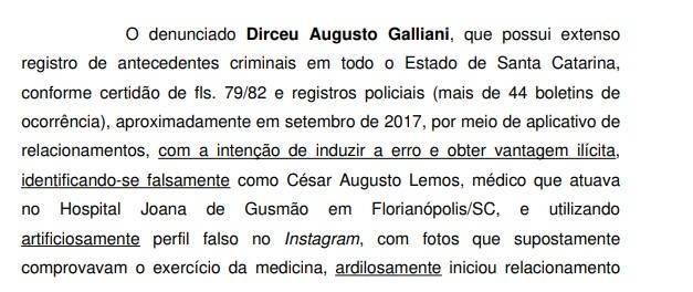 Denúncia do MP-SC em Joinville contra o falso médico.
