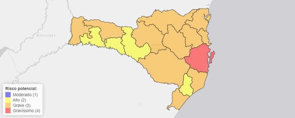 Mapa de risco potencial da Covid em SC