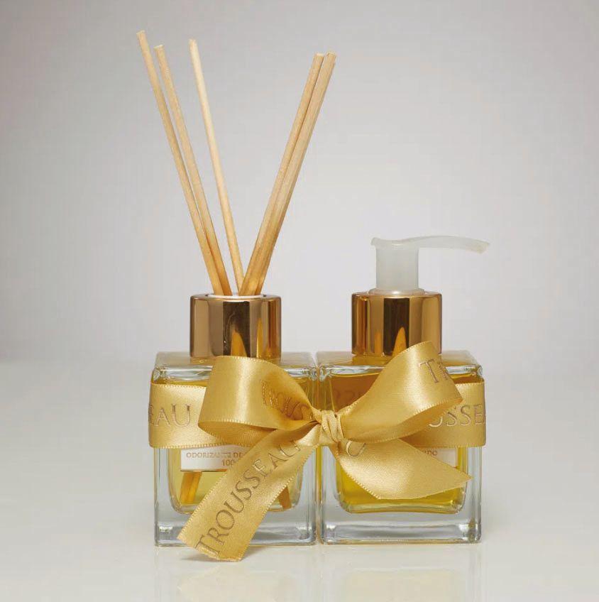 Aromas leves e agradáveis em formato de odorizante e sabonete líquido.