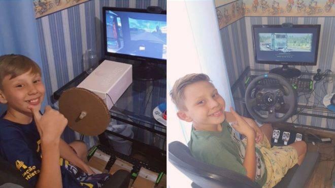 Com a pandemia, a família de João Pedro não podia comprar os equipamentos para o videogame, então o menino criou sozinho