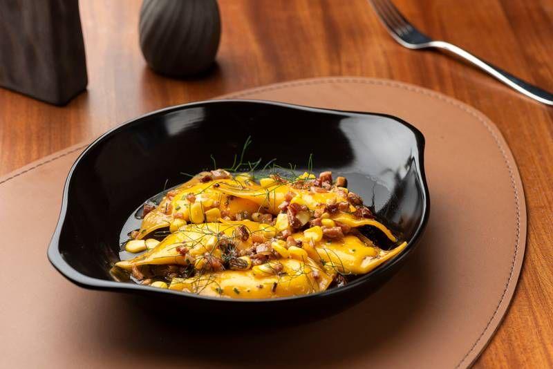 Pansotti de ricota, milho doce, bacon e erva-doce - prato principal do Festival Bom Gourmet no Grés.