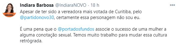 Tweet da vereadora curitibana vítima do machismo do Porta dos Fundos