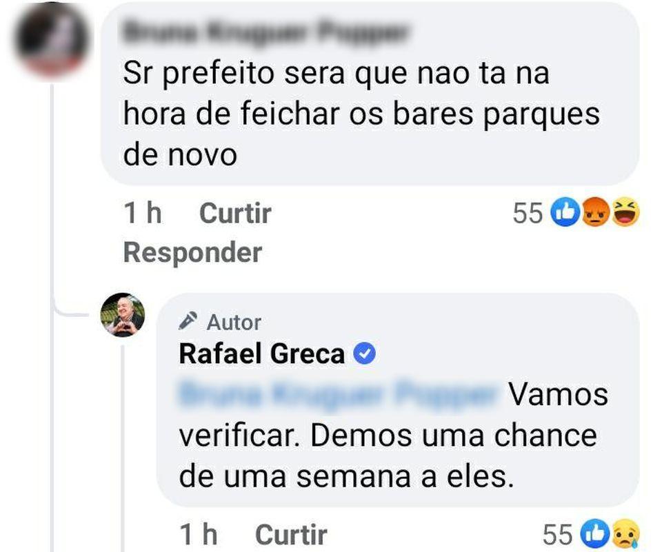 Resposta do prefeito Rafael Greca a questionamento sobre se Curitiba já deveria ter adotado restrições.