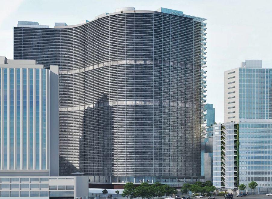 Módulos instalados na empena cega do icônico edifício de Oscar Niemeyer.