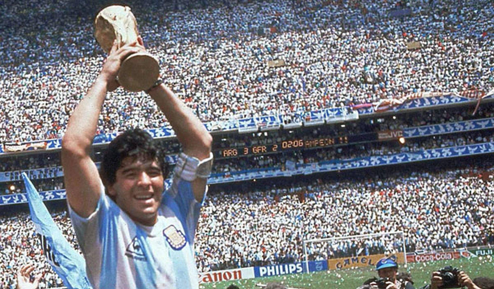 Maradona na conquista da Copa de 1986.