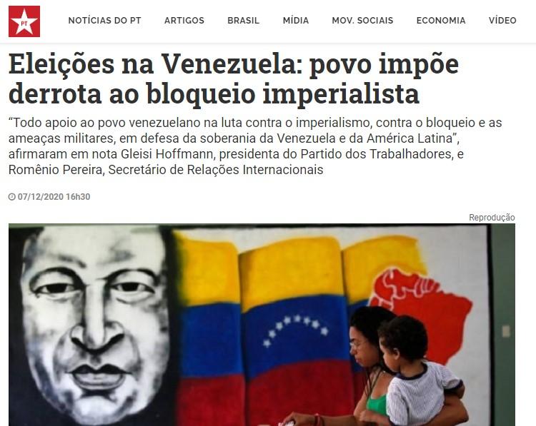 Reportagem do Brasil de Fato no site do Partido dos Trabalhadores