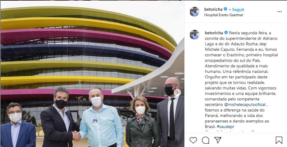 """Beto Richa """"reapareceu"""" nas redes sociais recentemente, após um """"sumiço"""" de dois anos. Foto: Reprodução/Instagram"""