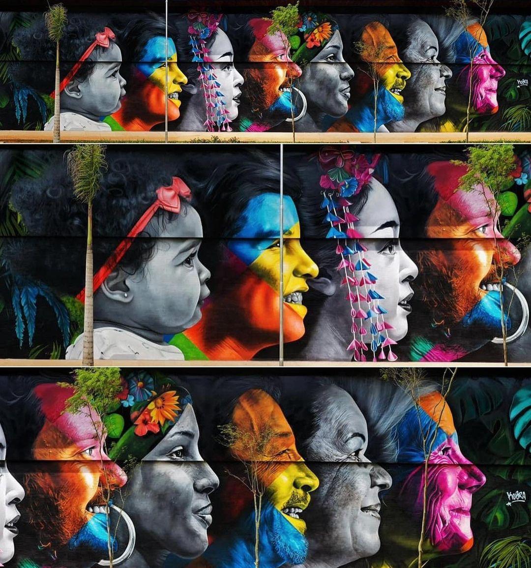Montagem com detalhes em diversos tamanhos do novo mural de Kobra.
