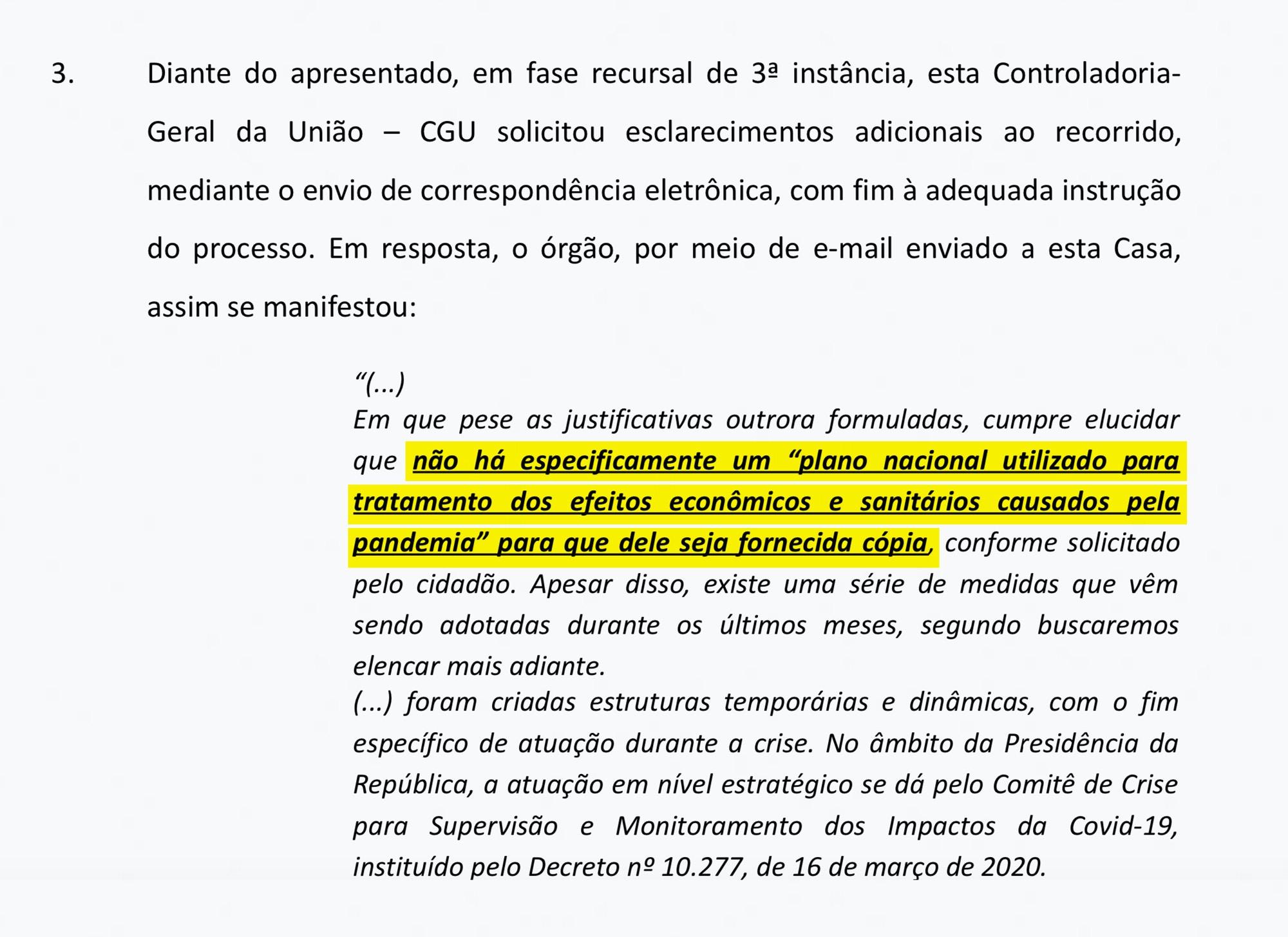 Resposta da Controladoria-Geral da União ao cidadão Hélio Rodak, publicada pela jornalista Tatiana Dias