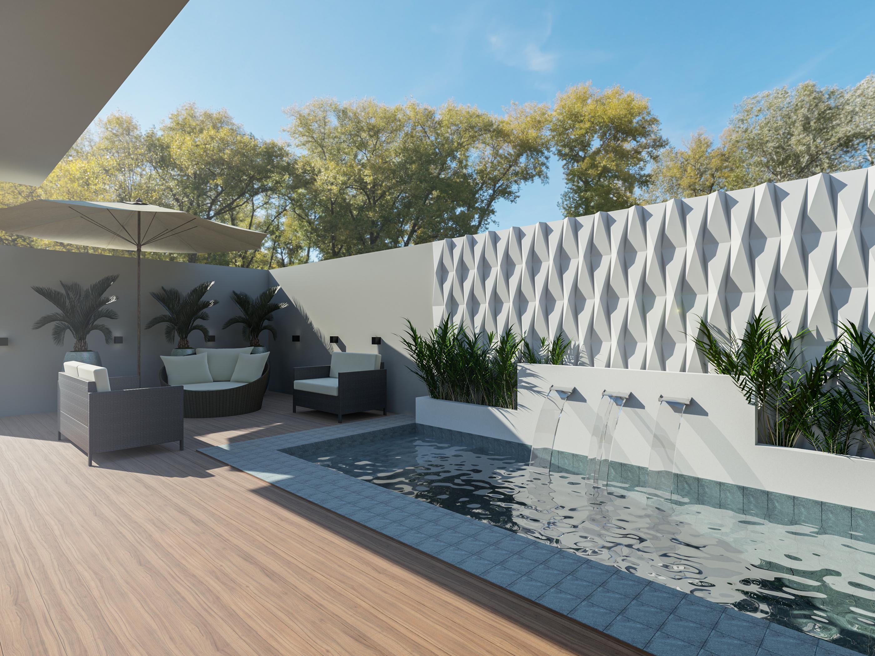 Residência de 250 m² projetada por Monica Pajewski prevê piscina.