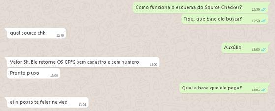 """Oferta de aplicativo """"checker"""" por R$ 5 mil em conversa no WhatsApp: """"Pronto para uso""""."""