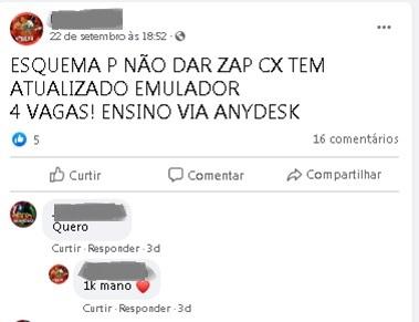 """Estelionatário anuncia, em grupo do Facebook, curso para receber auxílio emergencial com esquema para burlar """"trava"""" do Caixa Tem. O custo: R$ 1 mil."""