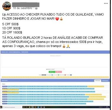 """""""Fazer dinheiro e jogar no mar"""": criminoso oferece, em grupo do Facebook, banco de CPFs e aplicativo """"burlador"""" para fraudar o auxílio emergencial."""