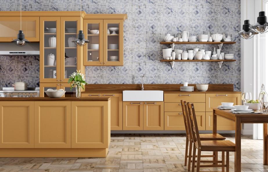 Cozinha com os padrões Mostrato e Louro Freijó, da Berneck.