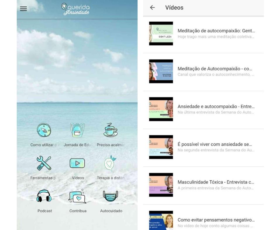 O aplicativo oferece jornadas de autoconhecimento e catálogo de profissionais. Foto: Reprodução/Querida Ansiedade