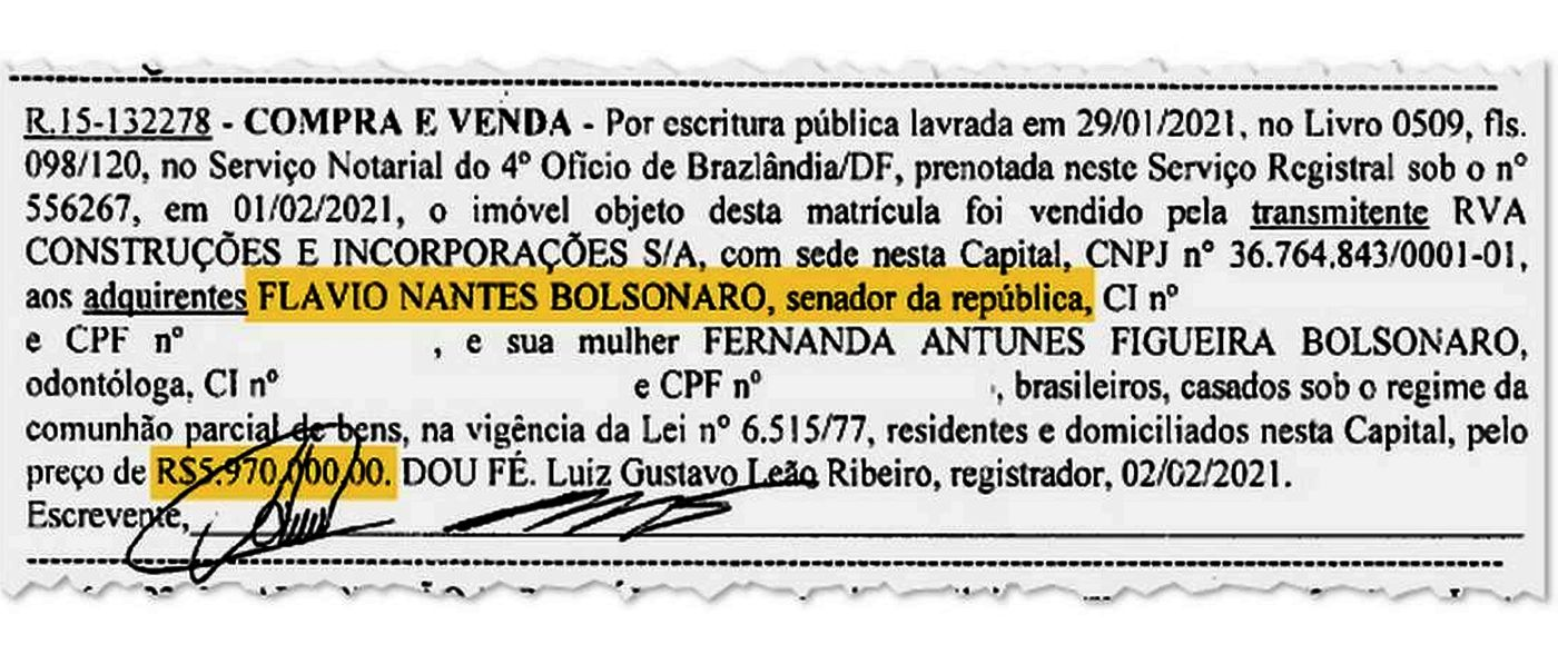 Trecho do registro de compra e venda da mansão por Flávio Bolsonaro divulgado pelo jornal O Globo.