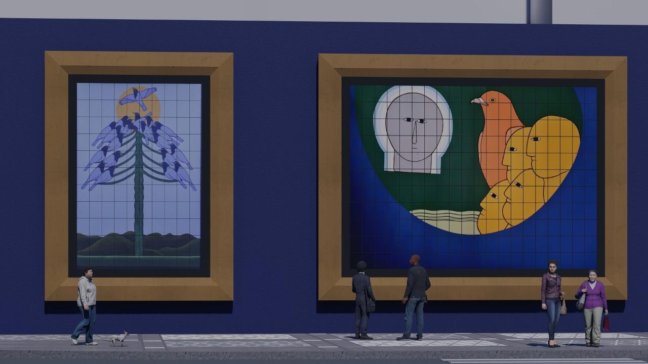 Murais trazem imagens de obras do artista Antonio Maia. Imagem: SMMA/Divulgação