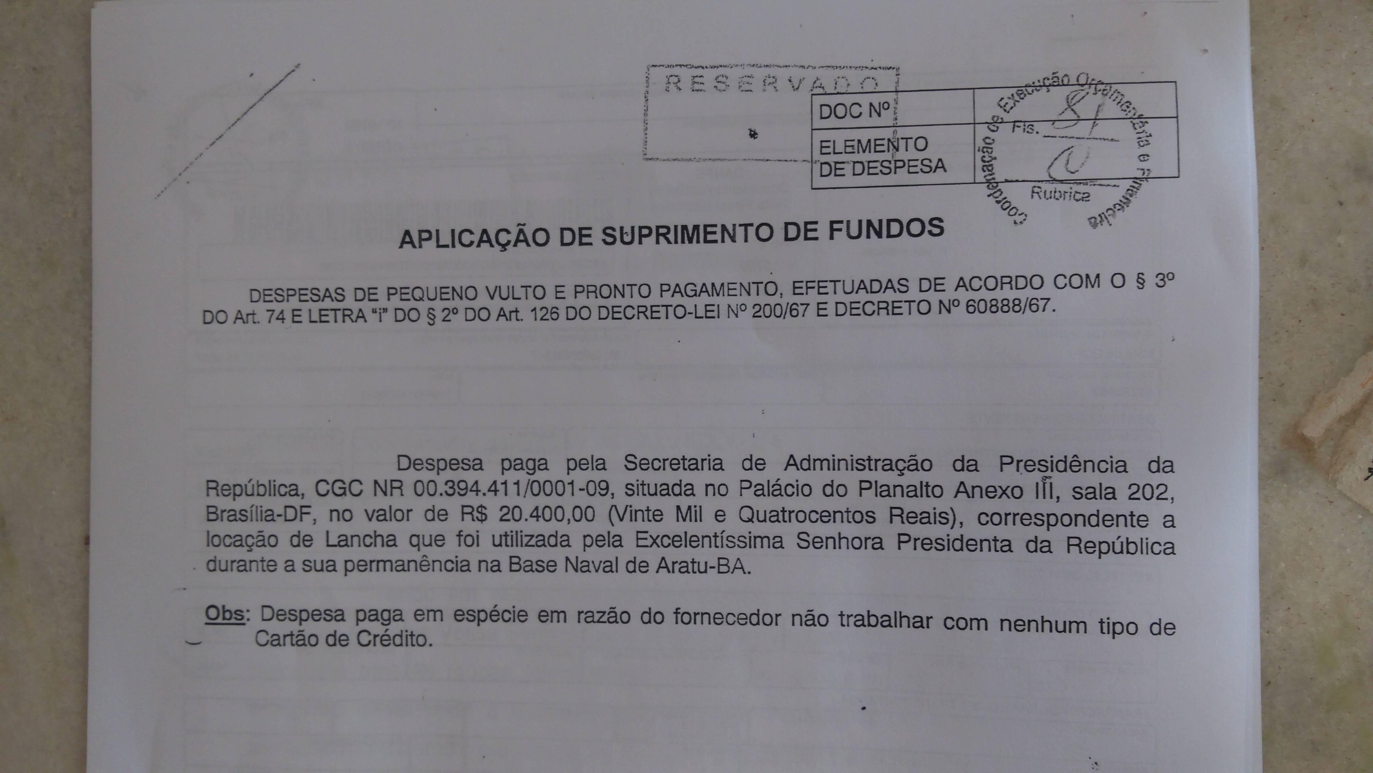 A prestação de contas dos cartões corporativos da Presidência mostra quanto custou o passeio de lancha. Reprodução dos Arquivos da Presidência da República.