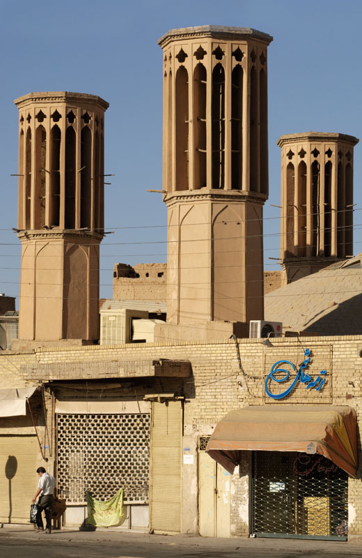 Torre de vento utilizada na cidade de Yazd, no Irã.