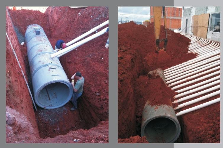 Detalhe de uma implantação do duto principal e dos canos menores de saída do ar-condicionado natural.