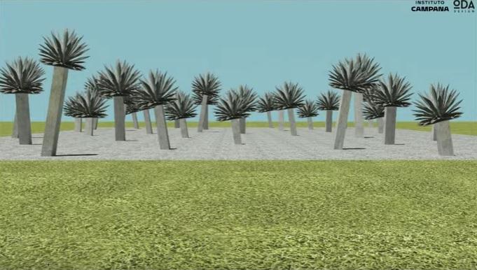 Pavilhão dos Irmãos Campana com vasos gigantes de agaves.