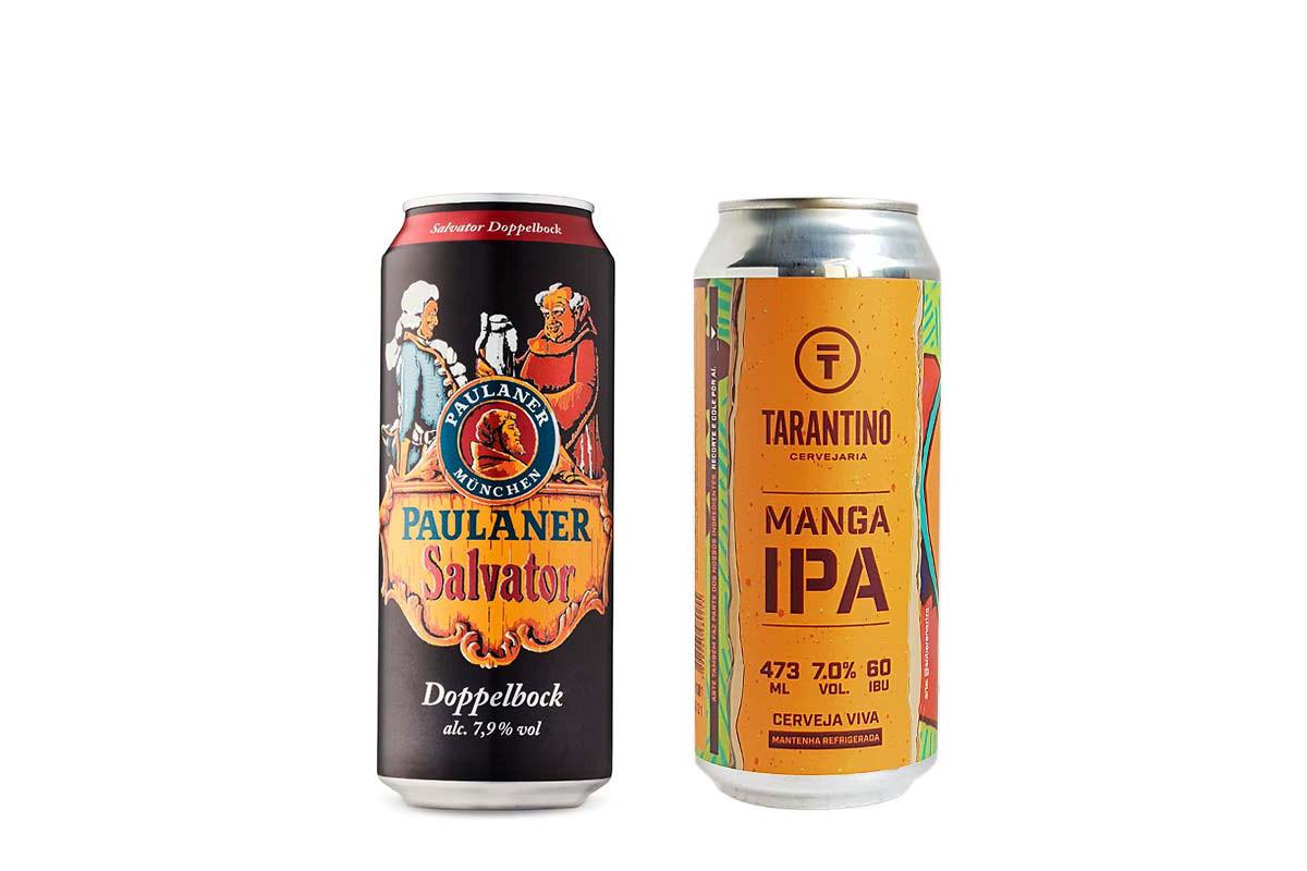 Seleção Beer Basics de março tem a Paulaner Salvator e a Manga IPA Tarantino. Foto: Divulgação